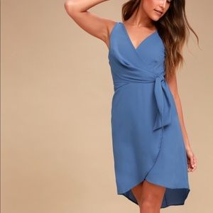 Blue high-low wrap mini dress